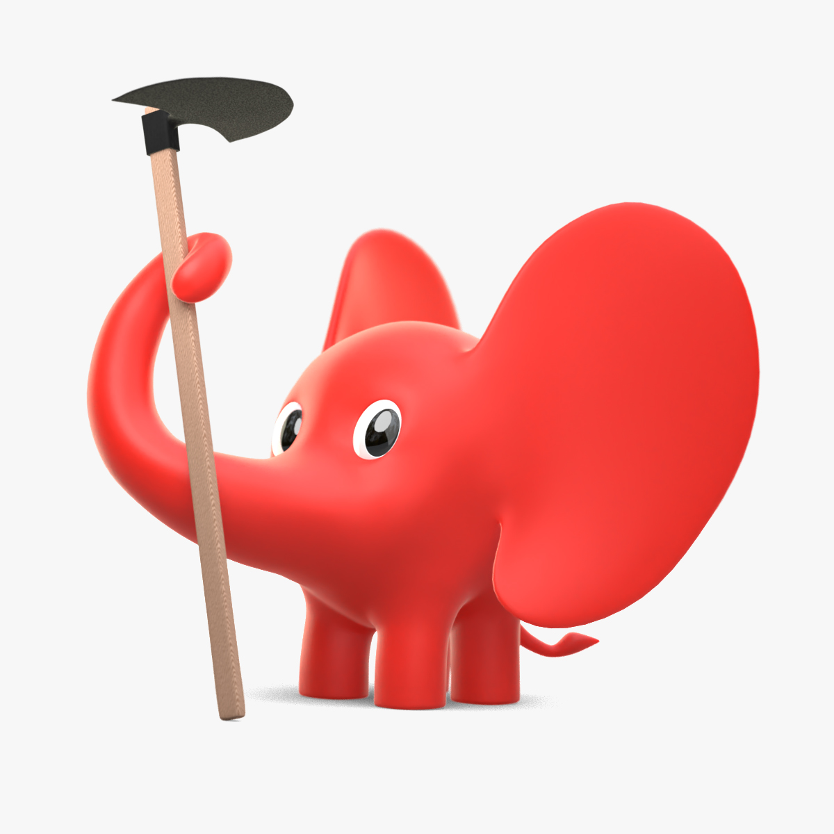 3d slonic uvo drzi motiku