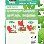 opis bosiljka genovese i ilustracija instrukcija za sadnju sa slonicem na zadnjoj strani kesice