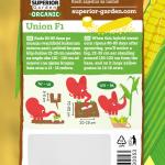 opis organskog kukuruza secerca union f1 i ilustracija instrukcija za sadnju sa slonicem na zadnjoj strani kesice