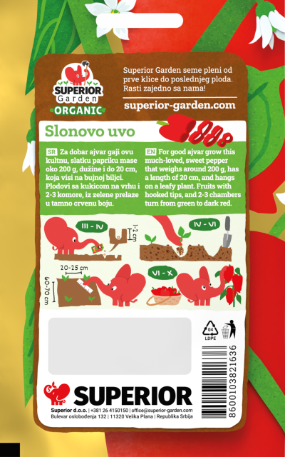 description of organic pepper slonovo uvo & illustration of sowing instructions with the elephant on the back side of the bag