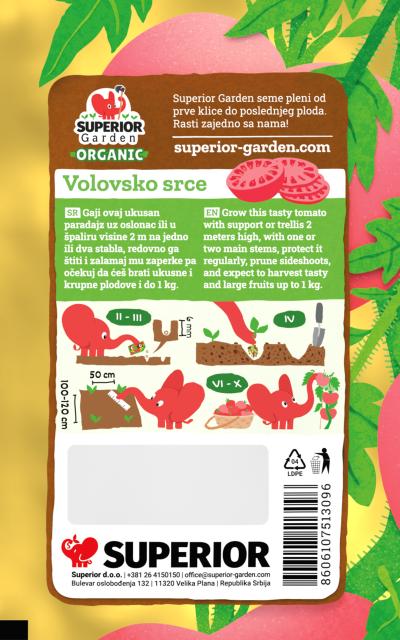 opis organskog paradajza volovsko srce i ilustracija instrukcija za sadnju sa slonicem na zadnjoj strani kesice