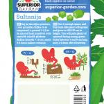 opis bamije sultanija i ilustracija instrukcija za sadnju sa slonicem na zadnjoj strani kesice