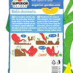 opis bundeve bela domaca i ilustracija instrukcija za sadnju sa slonicem na zadnjoj strani kesice