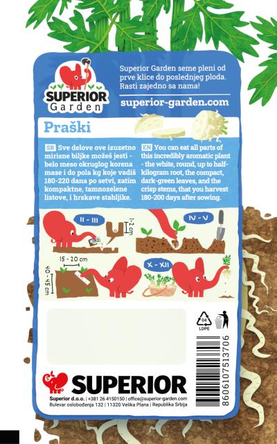 opis praskog celera i ilustracija instrukcija za sadnju sa slonicem na zadnjoj strani kesice