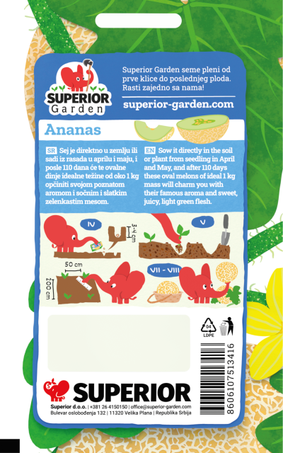 opis dinje ananas i ilustracija instrukcija za sadnju sa slonicem na zadnjoj strani kesice