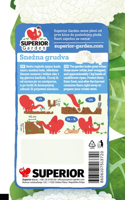 opis karfiola snezna grudva i ilustracija instrukcija za sadnju sa slonicem na zadnjoj strani kesice