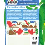 opis krastavca pariski kornison i ilustracija instrukcija za sadnju sa slonicem na zadnjoj strani kesice
