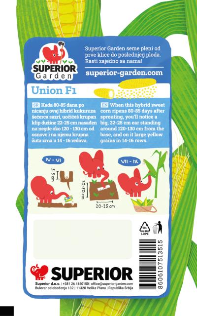 opis kukuruza secerca union f1 i ilustracija instrukcija za sadnju sa slonicem na zadnjoj strani kesice