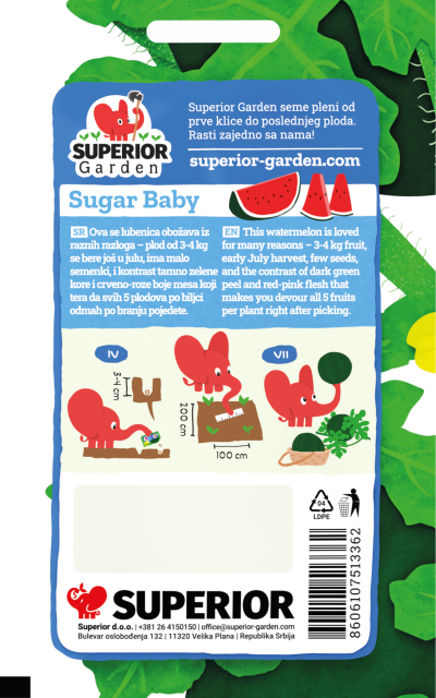 opis lubenice sugar baby i ilustracija instrukcija za sadnju sa slonicem na zadnjoj strani kesice