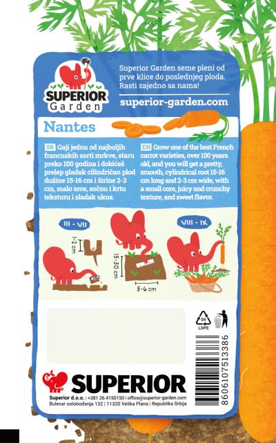 opis mrkve nantes i ilustracija instrukcija za sadnju sa slonicem na zadnjoj strani kesice