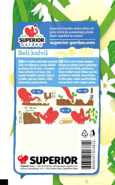 opis paprike beli kalvil i ilustracija instrukcija za sadnju sa slonicem na zadnjoj strani kesice