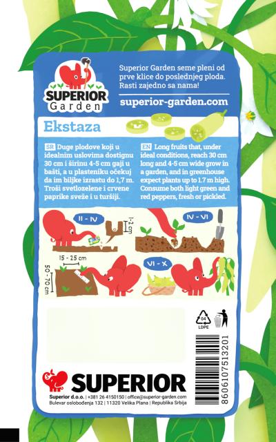 opis paprike ekstaza i ilustracija instrukcija za sadnju sa slonicem na zadnjoj strani kesice