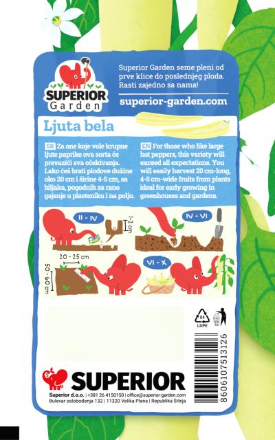 opis paprike ljuta bela i ilustracija instrukcija za sadnju sa slonicem na zadnjoj strani kesice