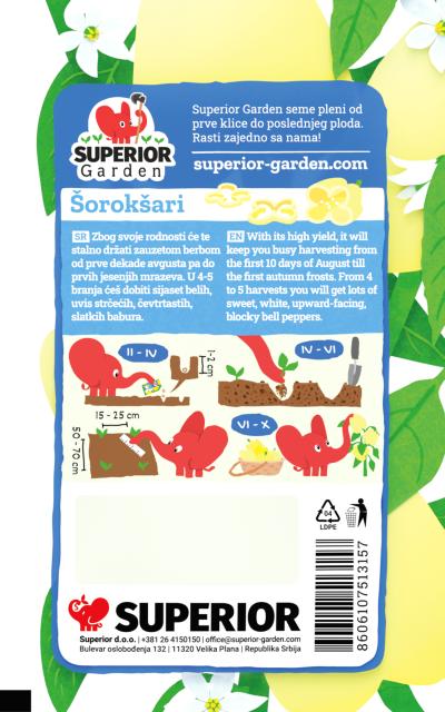 opis paprike soroksari i ilustracija instrukcija za sadnju sa slonicem na zadnjoj strani kesice