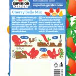 opis paradajza cherry belle i ilustracija instrukcija za sadnju sa slonicem na zadnjoj strani kesice
