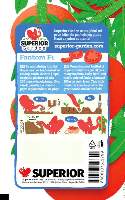 opis paradajza fantom f1 i ilustracija instrukcija za sadnju sa slonicem na zadnjoj strani kesice