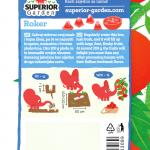opis paradajza roker i ilustracija instrukcija za sadnju sa slonicem na zadnjoj strani kesice