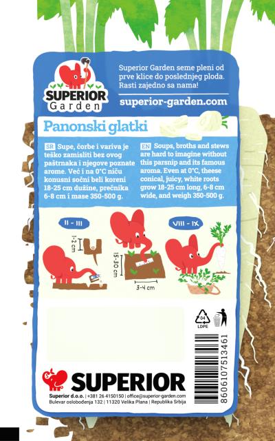 opis pastranaka panonski glatki i ilustracija instrukcija za sadnju sa slonicem na zadnjoj strani kesice