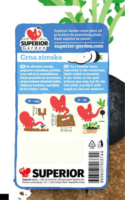 opis rotkve crna zimska i ilustracija instrukcija za sadnju sa slonicem na zadnjoj strani kesice