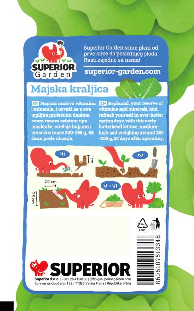 opis salate majska kraljica i ilustracija instrukcija za sadnju sa slonicem na zadnjoj strani kesice