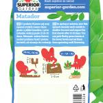 opis spanaca matador i ilustracija instrukcija za sadnju sa slonicem na zadnjoj strani kesice