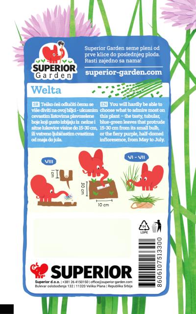opis vlasca welta i ilustracija instrukcija za sadnju sa slonicem na zadnjoj strani