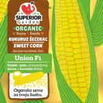 ilustracija organskog kukuruza secerca union f1 sa listovima i zlatnom pozadinom na prednjoj strani kesice