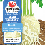 ilustracija praskog celera i starog kljuca u zemlji na prednjoj strani kesice