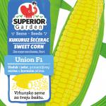 ilustracija kukuruza secerca union f1 sa listovima na prednjoj strani kesice