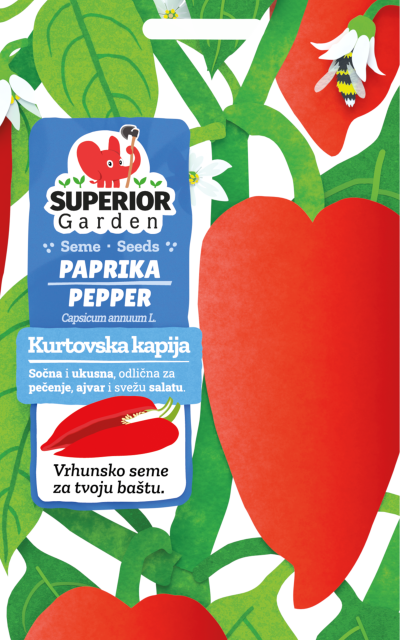 ilustracija crvene paprike kurtovksa kapija i pcele u cvetu na biljci na prednjoj strani kesice