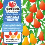 ilustracija kruskastog crvenog i zutog paradajza cherry belle na biljci na prednjoj strani kesice