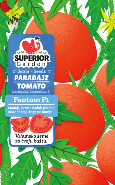 ilustracija paradajza fantom f1 i pcele na cvetu na biljci na prednjoj strani kesice