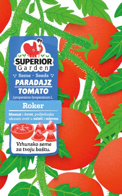 ilustracija paradajza roker na biljci na prednjoj strani kesice