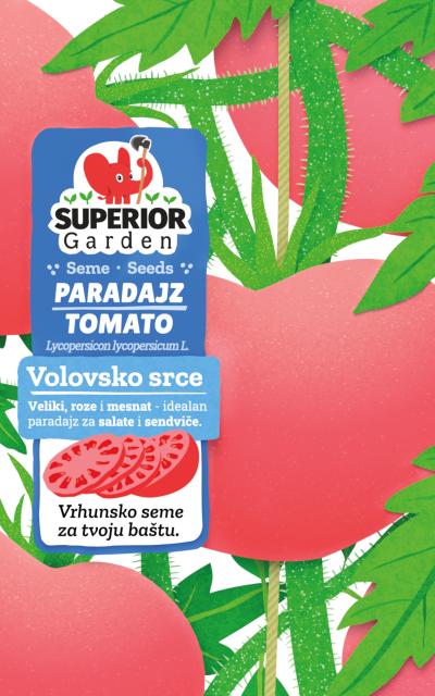 ilustracija paradajza volovsko srce na biljci na prednjoj strani kesice