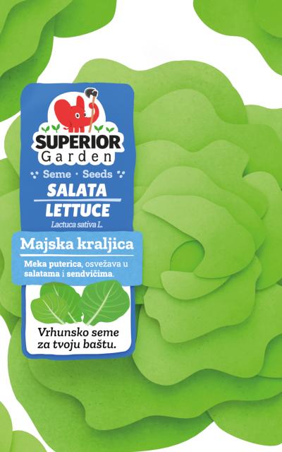 ilustracija odozgo salate majska kraljica na prednjoj strani kesice