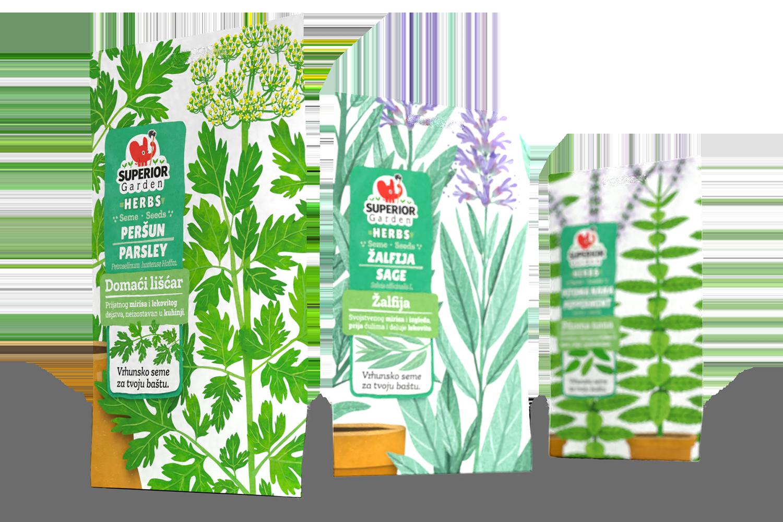 composition of three superior garden herbs bags
