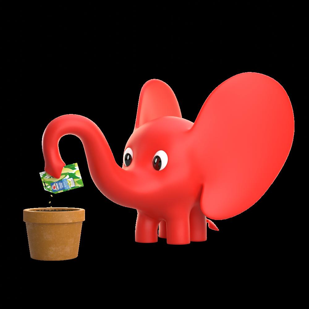 3d slonic uvo seje papriku u saksiju